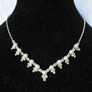 Vintage silver pearl and crystal necklace
